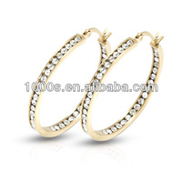 Gold Plated Crystal Hoop Earrings