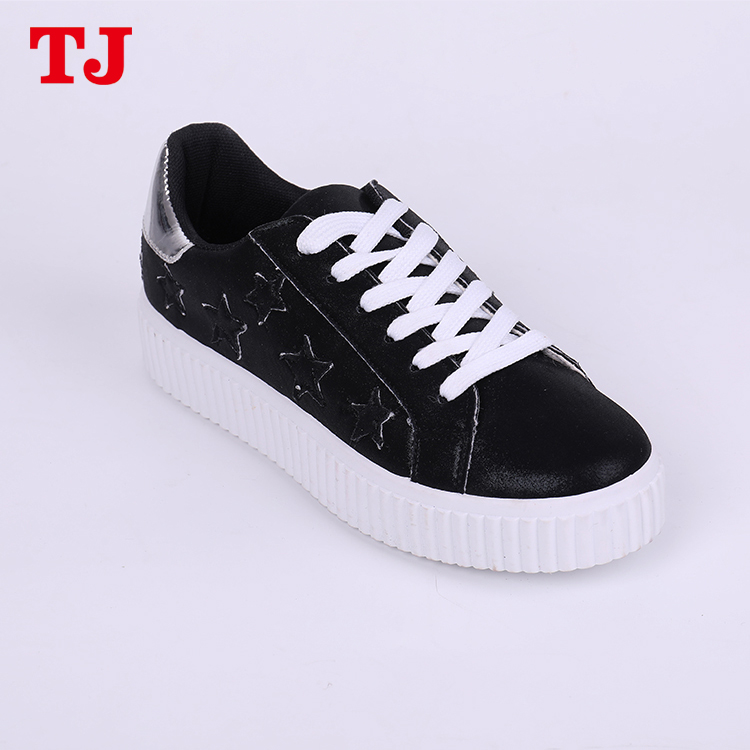 Black low top star platform shoes casual elevator shoes for women