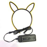 New Product Idea 2019 party decoration birthday glow in the dark light up head band cat ear shape led EL hair band clasp