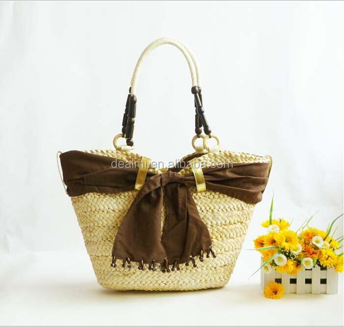 DEMIZXX649 Wholesale Custom Vintage Design Bowknot Women Hand Bag Summer New Style Best Sale China Offer Large Straw Beach Bag