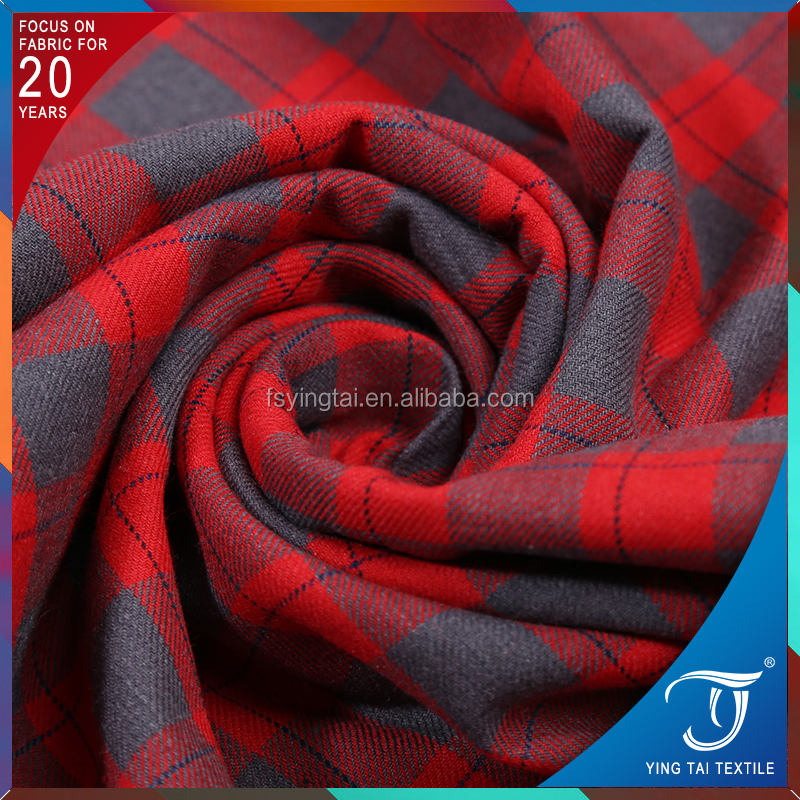 England grey/red color check woven heavy twill brushed shirting fabric 100% cotton yarn dyed