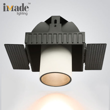 Adjustable recessed 9.3w cob led square trimless downlight with interchangeable reflector
