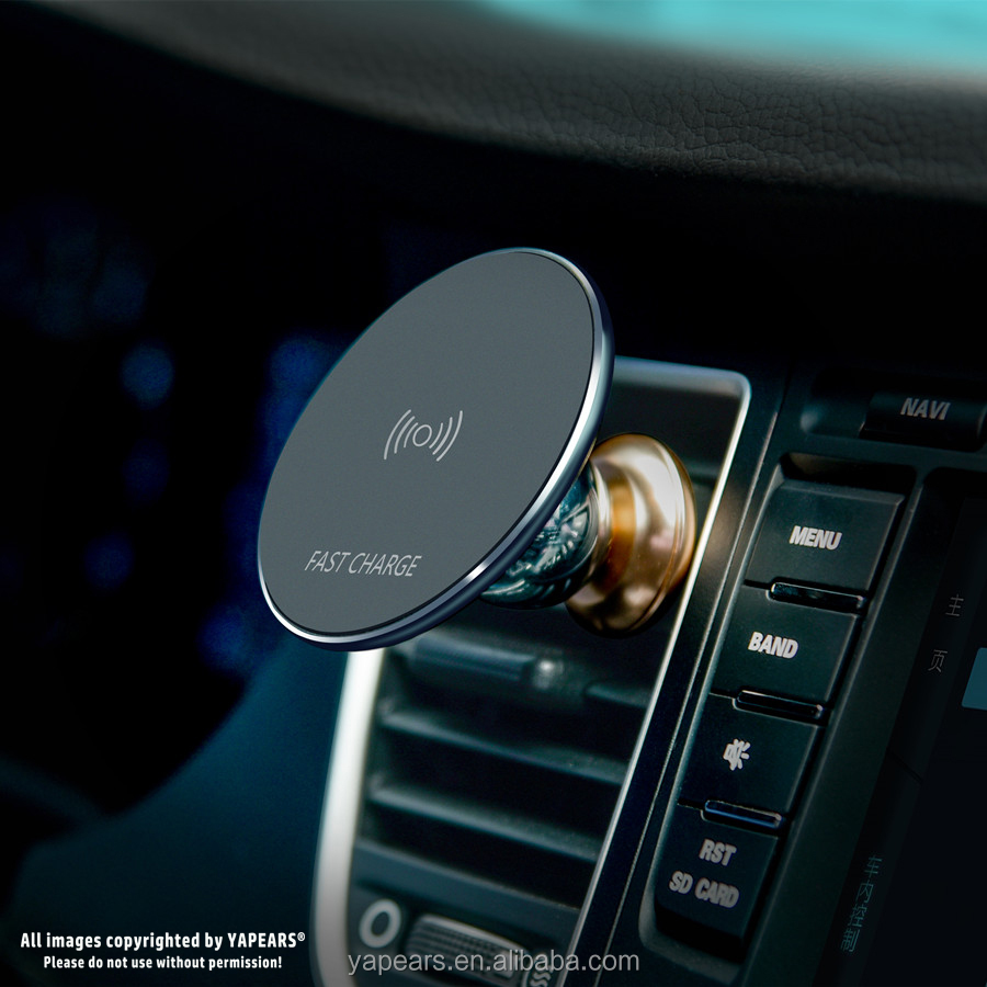 360 Rotation Magnetic Air Vent Car Phone Mount Holder & Wireless Charger 2 iN 1 for Mobile Phone