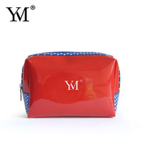 2016 newest little red patent leather cosmetic bag