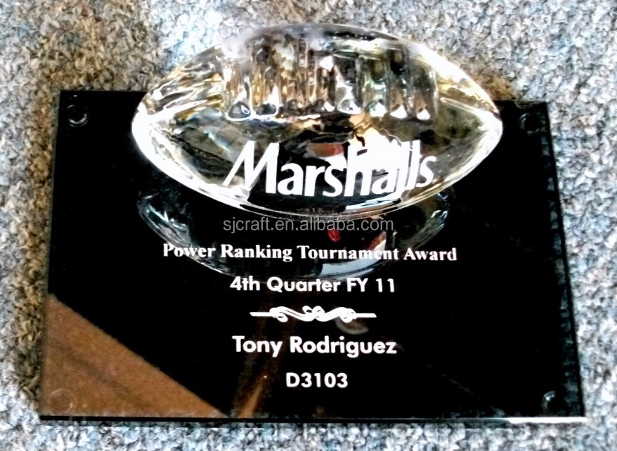 Crystal Glass Football Black Base Marshalls For Memorial Game Gift Crystal Glass Paperweight