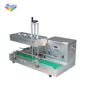 Automatic continuous induction plastic food containers sealing machine