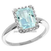 Handcrafted Aquamarine 10K White Gold Diamond Natural Aquamarine Ring Emerald cut 8x6mm Jewellery manufacturer in india jaipur
