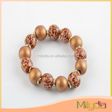 High quality wooden bead bracelet (animal print)