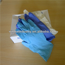 disposable blue powder free nitrile examination gloves with FDA