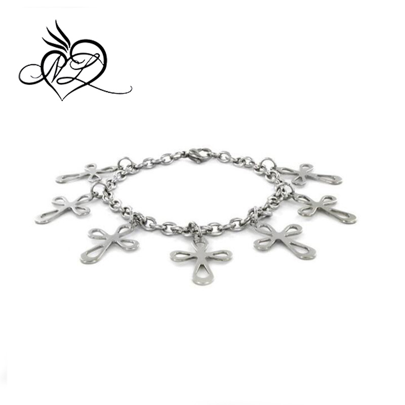 Stainless Steel Infinity Cross Charm Bracelet
