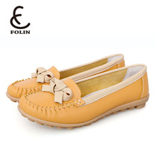 cow leather eco friendly shoes ladies loafers new look shoes with bowknot made by fujian shoes factory