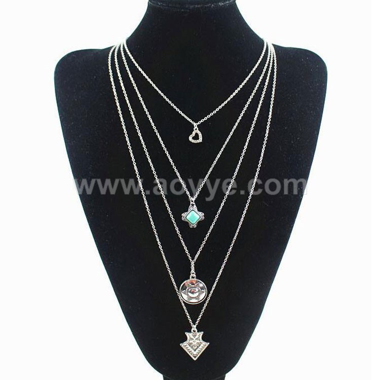National wind restoring ancient ways multilayer turquoise heart coin arrow pendant necklace