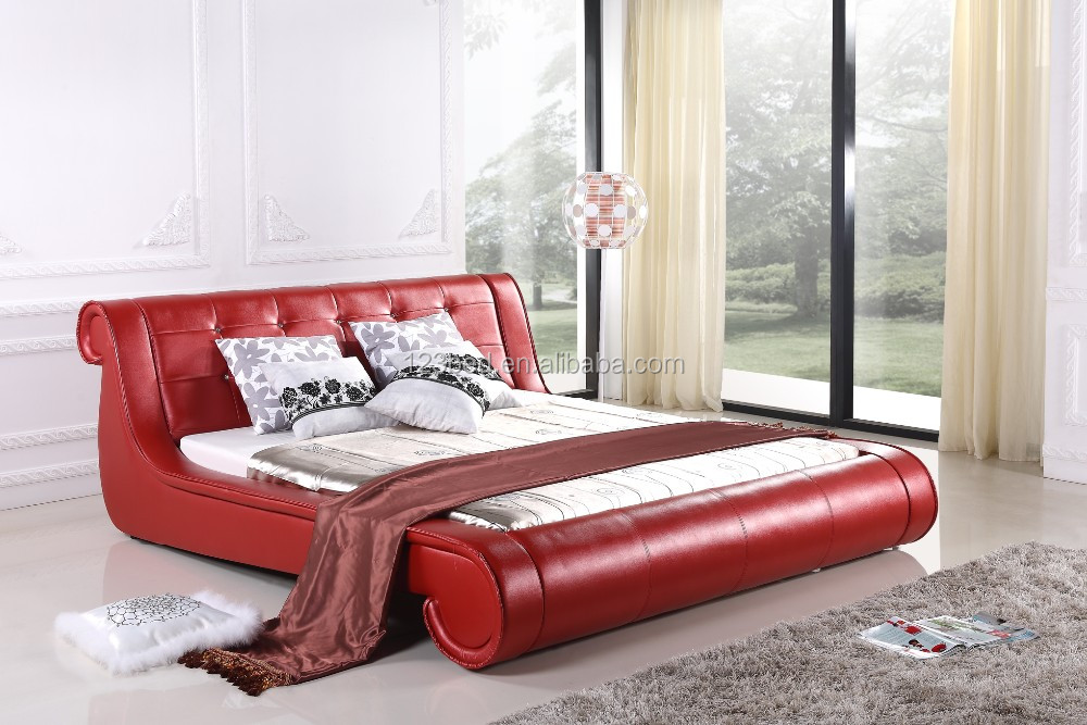 A532 fashional red leather bed frame