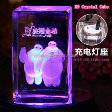3D Laser Engraved Decorative K9 Raw Crystal Glass Block