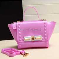 Hot Beach Bag ! 10 Colored PVC Jelly Bag Rivet Smile Design Silicone Messenger Bag (XJSD23)