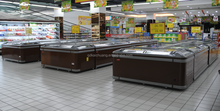 Best Curved and flat glass display island freezer for supermarket