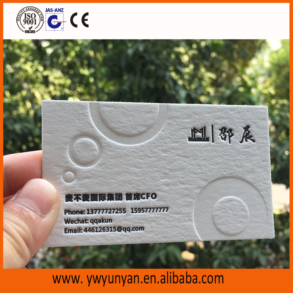 White embossing calling business paper card for wholesale