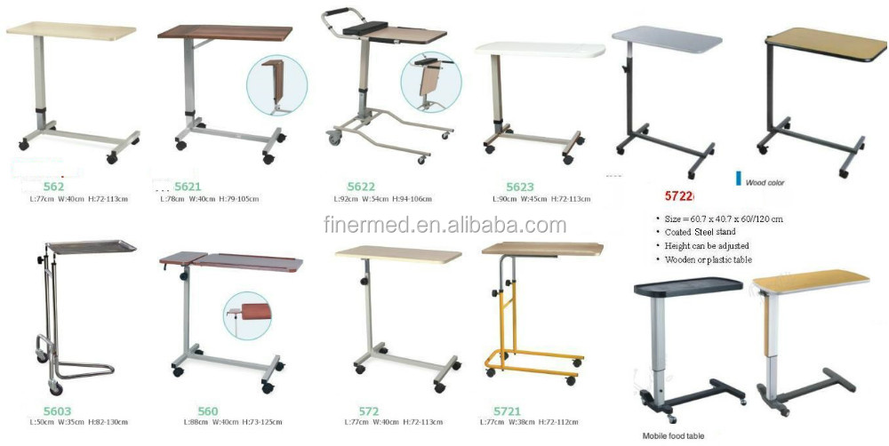 Movable adjustable folding overbed table buy folding for Divan overbed table
