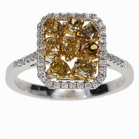 PES Fashion Jewelry! Two Tone Yellow Citrine Cluster AAA CZ Hollow Ring (PES6-1818)