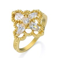 Fashion jewelry factory 18K yellow gold plated alloy multi gemstone cubic zirconia flower shaped ring