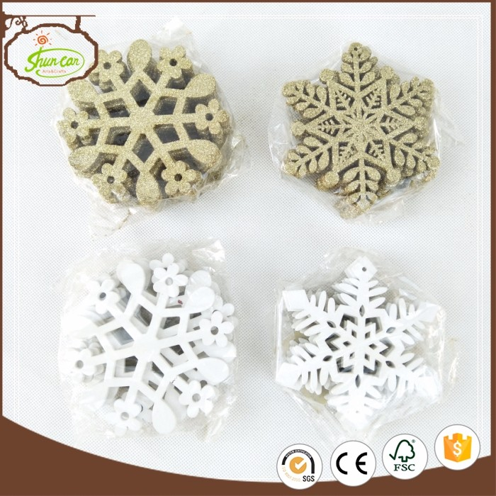 Golden and white glitter snowflake decoration