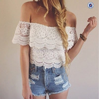 sexy cheap white lace crop top flat off shoulders with custom service