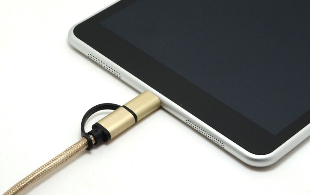 Aluminium shell and nylon braid USB 3.1 Type-C + Micro To USB A USB Male 56K Ohm Resistor 3.3Ft/1M Data Charging Cord