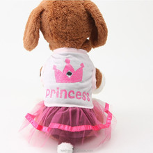 Summer Pet Clothes ,High Grade Fashion Dog Cotton Dress With Princess printing