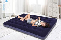 Bestway easy inflate queen size flocked comfort air bed inflatable mattress built in foot pump