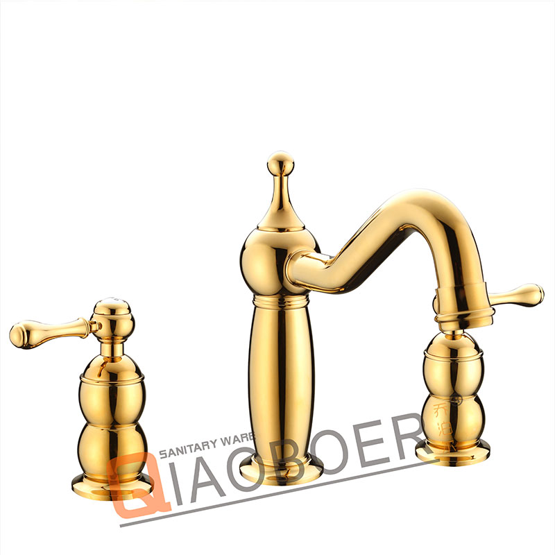 Low Cost Double Handle Ti-Pvd Faucets For Bathroom