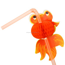 Novelty Drinking Straw Decorative Goldfish bendy Straw