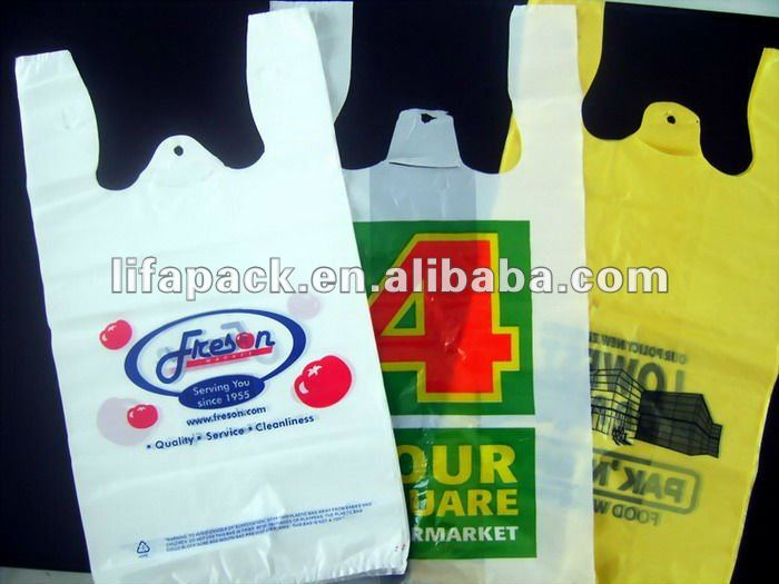 China custom label shape printed t shirt plastic bags manufacturers