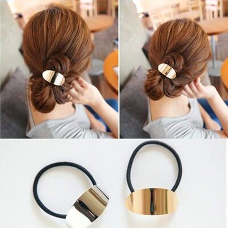 Lastest design hair accessories elastic hair band metal tie ponytail holder for women