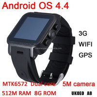 best products for import dual core cpu 512M ram 4g rom smart watch android 4.4 system wrist watch phone support android wifi 3g