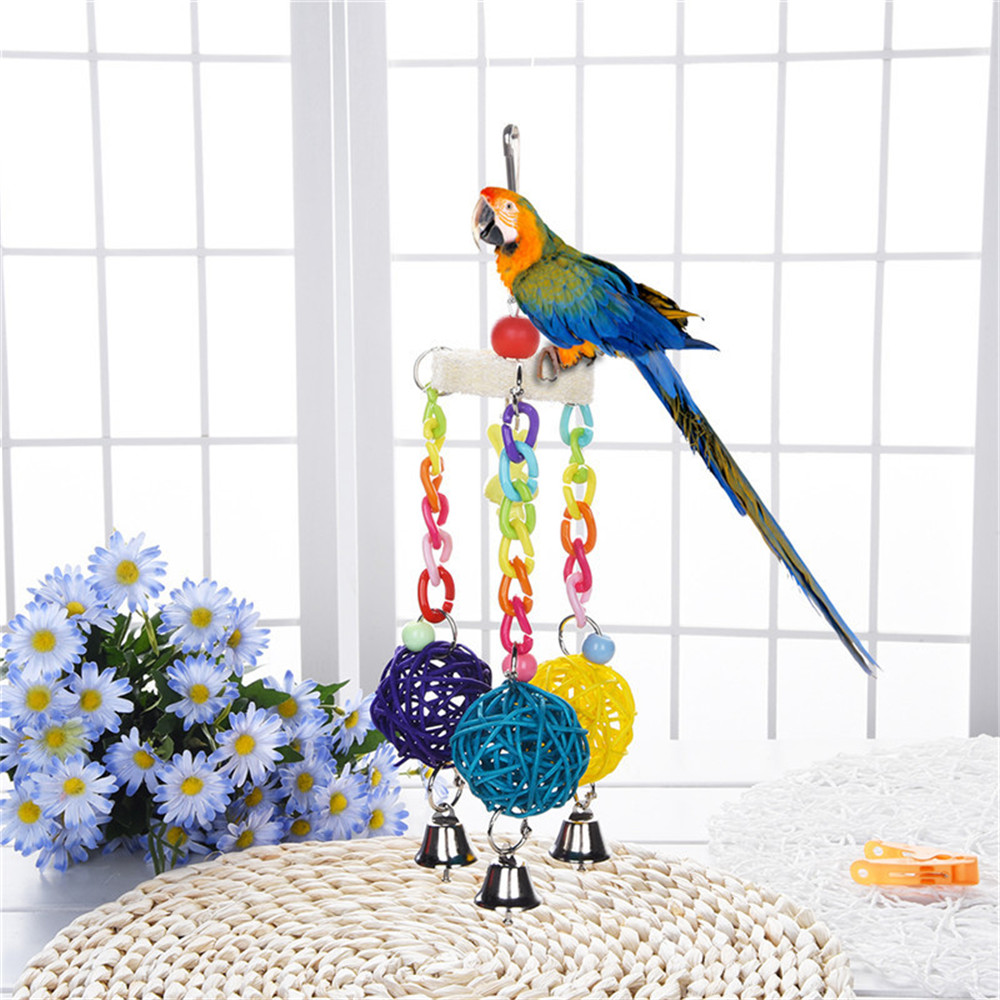 Multi Color Plastic Chain Hanging Rattan Ball Bird Parrot Toy with Jingle Bell