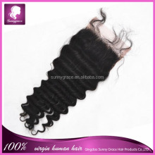 Free style deep curl human hair Indian hair Swiss lace closure lace closure with baby hair in stork