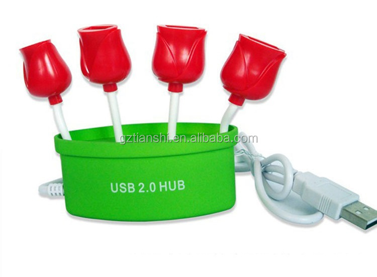 Customized USB2.0 Hub 4 Ports Flower Pot Hub For Desktop Computer