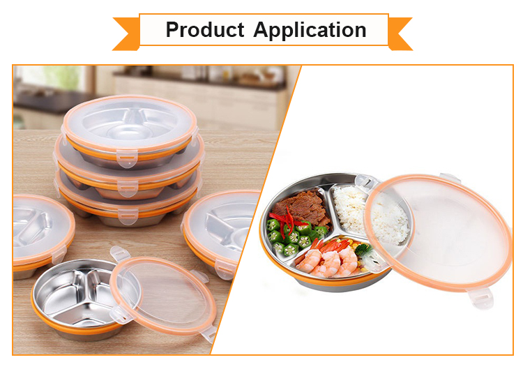 Food Grade Fashion Personalized Stainless Steel Lunchbox With Multigrid Design
