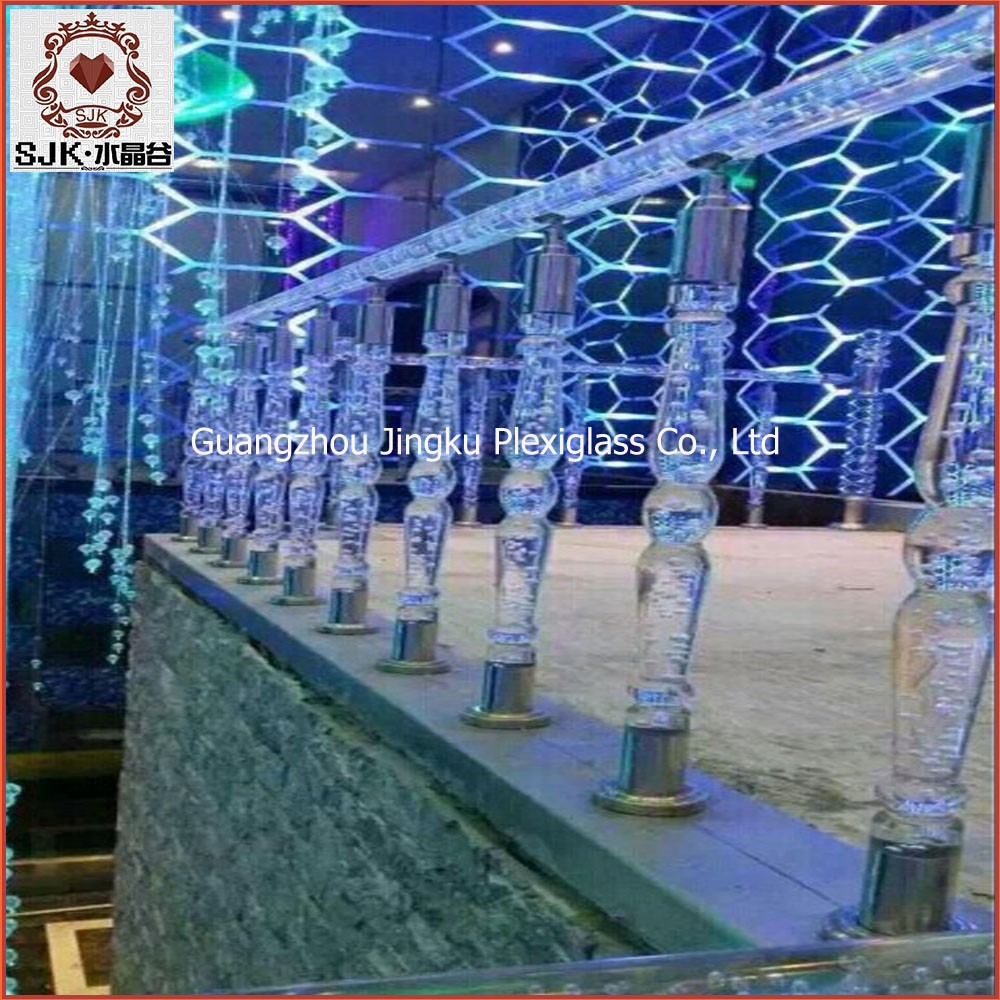 Crystal acrylic baluster stair handrails for