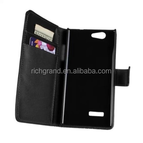 PU black magnetic wallet leather case stand cover for ZTE Blade L2 phone accessories
