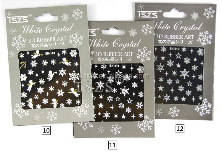 TSZS brand nail art decoration supplies snowflakes design vinyl nail sticker