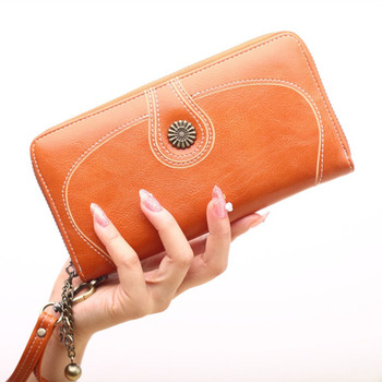 New Fashion Vintage Sunflower Design Lady Leather Wallet Women Long Purse For Wholesale