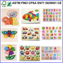 2015 Kids Toys Wooden Chunky 3D Puzzle, Hot Sale Cute Animal Wooden Puzzle Toys