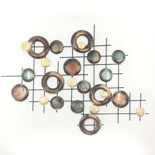 Colorful circle decoration metal wall art copper