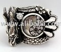 Yin-Yang Diamond Dragon Sterling Silver Men's Rings Jewelry for Rocker Biker