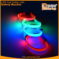 Hot selling New pure color nylon LED Cat collar safety cat collar TZ-PET9001