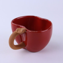 Fancy Red color Western style Apple shape ceramic coffee tea cups
