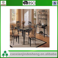 Detachable metal tube dining room table and chairs with fabric cushion
