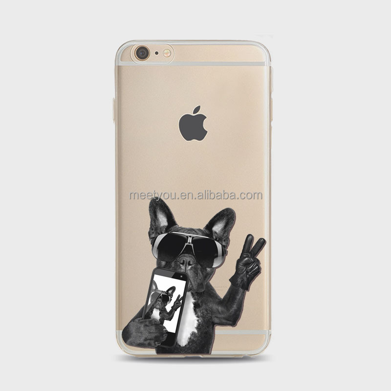 Mobile cases and covers creative cute naughty funny puppy dog selfie picture Soft TPU personalized phone case For iPhone 4 4S 5C
