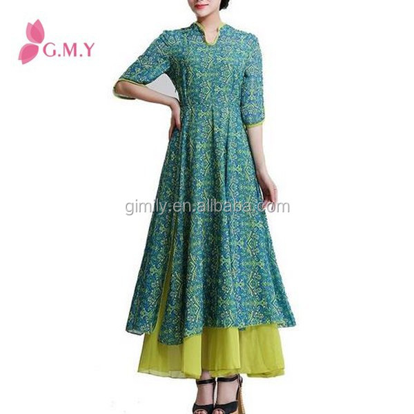 Women's Classic Slim Half Sleeve Cheongsam Maxi Dress Muslim Casual Abaya Online Shopping India